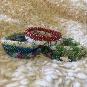 Nepal Roll On Glass Bead Bracelets
